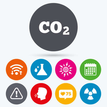 danger carbon dioxide  co2  labels: Wifi, like counter and calendar icons. Attention and radiation icons. Chemistry flask sign. CO2 carbon dioxide symbol. Human talk, go to web.