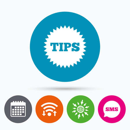 sms payment: Wifi, Sms and calendar icons. Tips sign icon. Star symbol. Service money. Go to web globe.