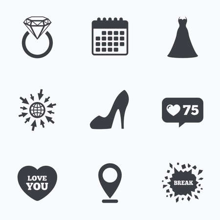 web engagement: Calendar, like counter and go to web icons. Wedding dress icon. Womens shoe and love heart symbols. Wedding or engagement day ring with diamond sign. Location pointer.