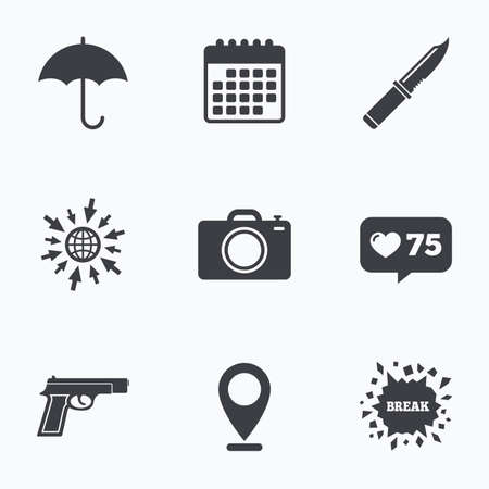 edged: Calendar, like counter and go to web icons. Gun weapon icon.Knife, umbrella and photo camera signs. Edged hunting equipment. Prohibition objects. Location pointer.