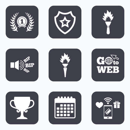 fire place: Mobile payments, wifi and calendar icons. First place award cup icons. Laurel wreath sign. Torch fire flame symbol. Prize for winner. Go to web symbol.