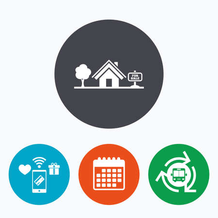 house for sale: Home sign icon. House for sale. Broker symbol. Mobile payments, calendar and wifi icons. Bus shuttle.