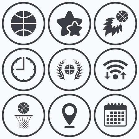 fireball: Clock, wifi and stars icons. Basketball sport icons. Ball with basket and fireball signs. Laurel wreath symbol. Calendar symbol. Illustration