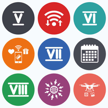 7 8: Wifi, mobile payments and drones icons. Roman numeral icons. 5, 6, 7 and 8 digit characters. Ancient Rome numeric system. Calendar symbol.