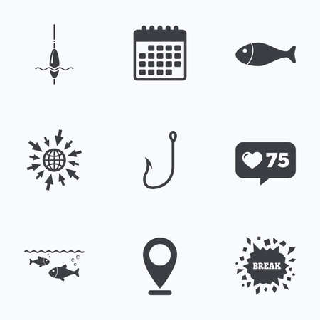 hook like: Calendar, like counter and go to web icons. Fishing icons. Fish with fishermen hook sign. Float bobber symbol. Location pointer.