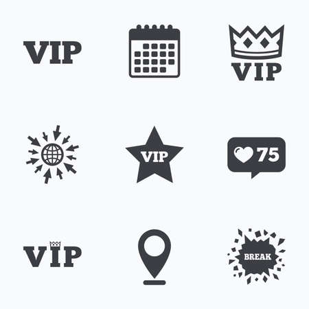 very important person: Calendar, like counter and go to web icons. VIP icons. Very important person symbols. King crown and star signs. Location pointer. Illustration