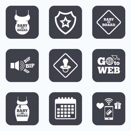 big belly: Mobile payments, wifi and calendar icons. Baby on board icons. Infant caution signs. Child pacifier nipple. Pregnant woman dress with big belly. Go to web symbol.