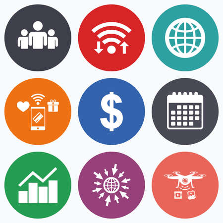 friend chart: Wifi, mobile payments and drones icons. Business icons. Graph chart and globe signs. Dollar currency and group of people symbols. Calendar symbol.