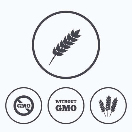 genetically modified crops: Agricultural icons. Gluten free or No gluten signs. Without Genetically modified food symbols. Icons in circles.