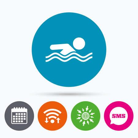 pool symbol: Wifi, Sms and calendar icons. Swimming sign icon. Pool swim symbol. Sea wave. Go to web globe.