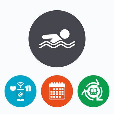 pool symbol: Swimming sign icon. Pool swim symbol. Sea wave. Mobile payments, calendar and wifi icons. Bus shuttle. Illustration