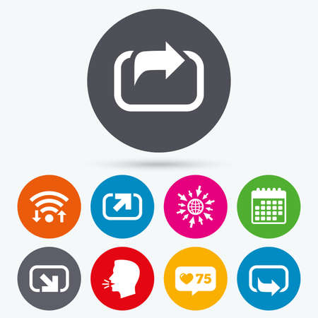 go forward: Wifi, like counter and calendar icons. Action icons. Share symbols. Send forward arrow signs. Human talk, go to web. Illustration