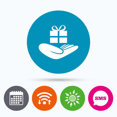 give a gift: Wifi, Sms and calendar icons. Give a gift sign icon. Hand holds present box with bow. Go to web globe.