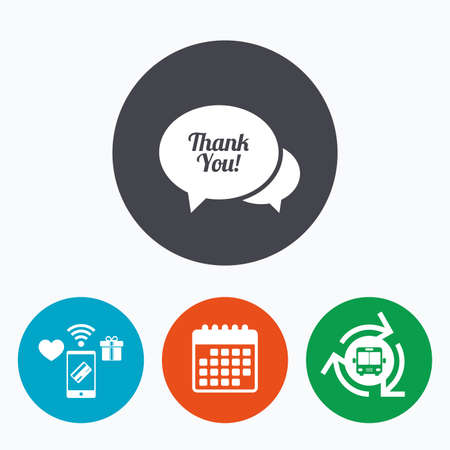 thanks a lot: Speech bubble thank you sign icon. Customer service symbol. Mobile payments, calendar and wifi icons. Bus shuttle. Illustration