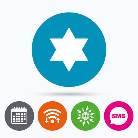 Wifi, Sms and calendar icons. Star of David sign icon. Symbol of Israel. Jewish hexagram symbol. Shield of David. Go to web globe. Illustration