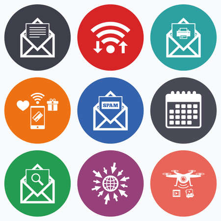 webmail: Wifi, mobile payments and drones icons. Mail envelope icons. Print message document symbol. Post office letter signs. Spam mails and search message icons. Calendar symbol.