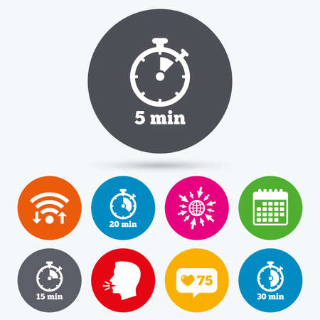 15 20: Wifi, like counter and calendar icons. Timer icons. 5, 15, 20 and 30 minutes stopwatch symbols. Human talk, go to web.