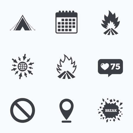 flame like: Calendar, like counter and go to web icons. Tourist camping tent icon. Fire flame and stop prohibition sign symbols. Location pointer.