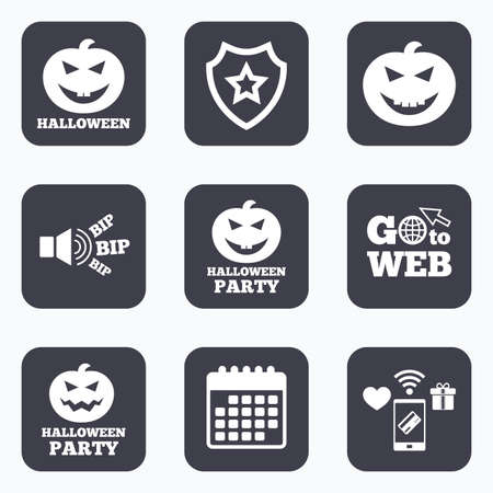 hallows': Mobile payments, wifi and calendar icons. Halloween pumpkin icons. Halloween party sign symbol. All Hallows Day celebration. Go to web symbol.