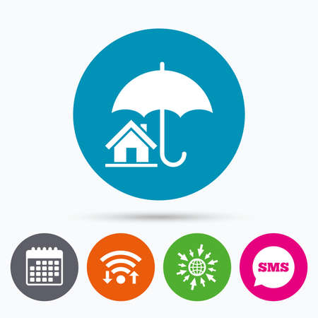 belay: Wifi, Sms and calendar icons. Home insurance sign icon. Real estate insurance symbol. Go to web globe.