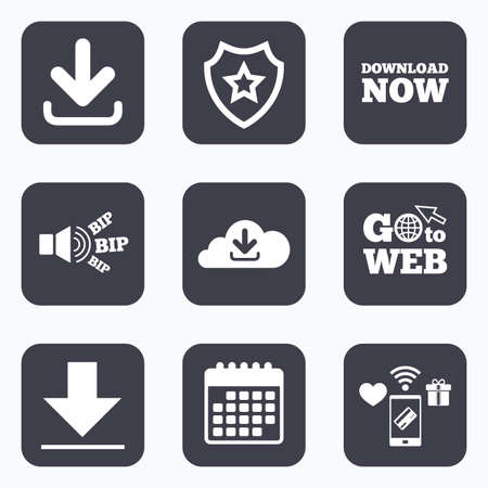 Mobile payments, wifi and calendar icons. Download now icon. Upload from cloud symbols. Receive data from a remote storage signs. Go to web symbol. Illustration