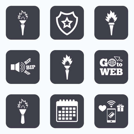 olympic game: Mobile payments, wifi and calendar icons. Torch flame icons. Fire flaming symbols. Hand tool which provides light or heat. Go to web symbol.