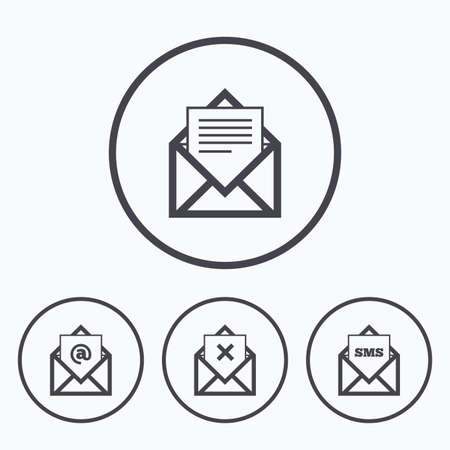webmail: Mail envelope icons. Message document symbols. Post office letter signs. Delete mail and SMS message. Icons in circles.