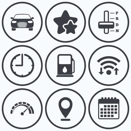 automatic transmission: Clock, wifi and stars icons. Transport icons. Car tachometer and automatic transmission symbols. Petrol or Gas station sign. Calendar symbol.
