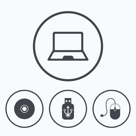 optical disk: Notebook pc and Usb flash drive stick icons. Computer mouse and CD or DVD sign symbols. Icons in circles.