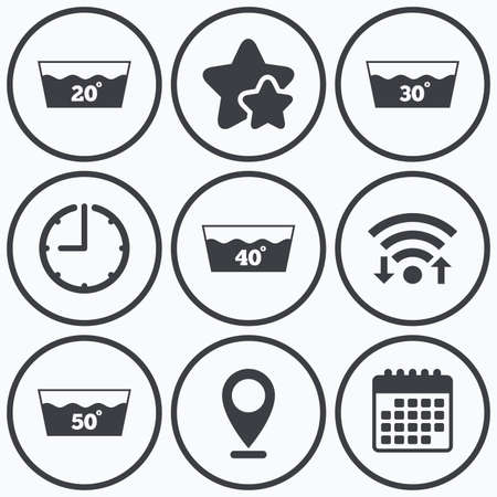 washable: Clock, wifi and stars icons. Wash icons. Machine washable at 20, 30, 40 and 50 degrees symbols. Laundry washhouse signs. Calendar symbol.