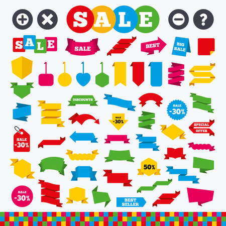 enlarge: Banners, web stickers and labels. Plus and minus icons. Delete and question FAQ mark signs. Enlarge zoom symbol. Price tags set. Illustration