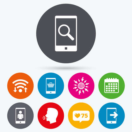 outcoming: Wifi, like counter and calendar icons. Phone icons. Smartphone video call sign. Search, online shopping symbols. Outcoming call. Human talk, go to web.