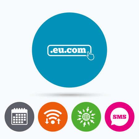 subdomain: Wifi, Sms and calendar icons. Domain EU.COM sign icon. Internet subdomain symbol with hand pointer. Go to web globe.