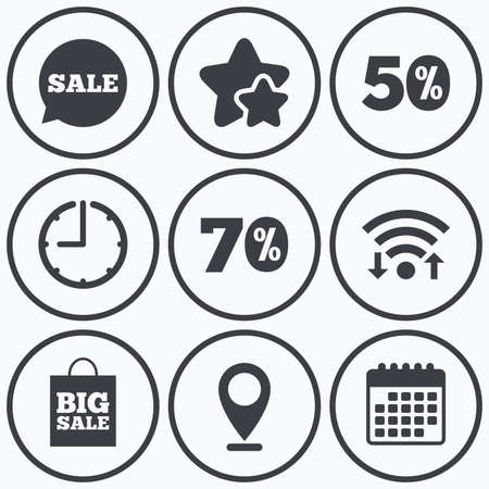 big timer: Clock, wifi and stars icons. Sale speech bubble icon. 50% and 70% percent discount symbols. Big sale shopping bag sign. Calendar symbol. Illustration
