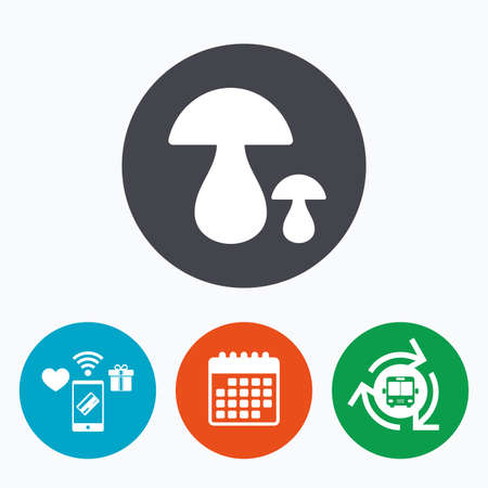 cep: Mushroom sign icon. Boletus mushroom symbol. Mobile payments, calendar and wifi icons. Bus shuttle. Illustration
