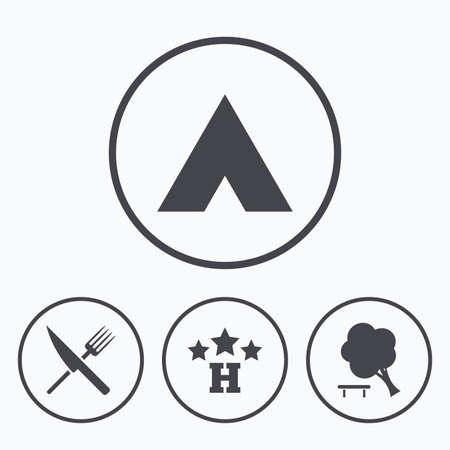 break down: Food, hotel, camping tent and tree icons. Knife and fork. Break down tree. Road signs. Icons in circles.