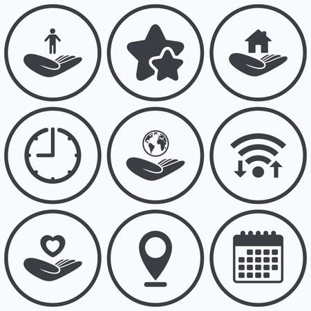 best shelter: Clock, wifi and stars icons. Helping hands icons. Heart health and travel trip insurance symbols. Home house or real estate sign. Calendar symbol. Illustration