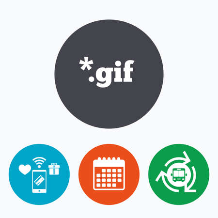 gif: File GIF sign icon. Download image file symbol. Mobile payments, calendar and wifi icons. Bus shuttle. Illustration
