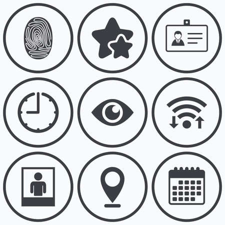 authentication: Clock, wifi and stars icons. Identity ID card badge icons. Eye and fingerprint symbols. Authentication signs. Photo frame with human person. Calendar symbol.