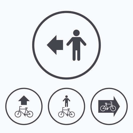 trail sign: Pedestrian road icon. Bicycle path trail sign. Cycle path. Arrow symbol. Icons in circles.