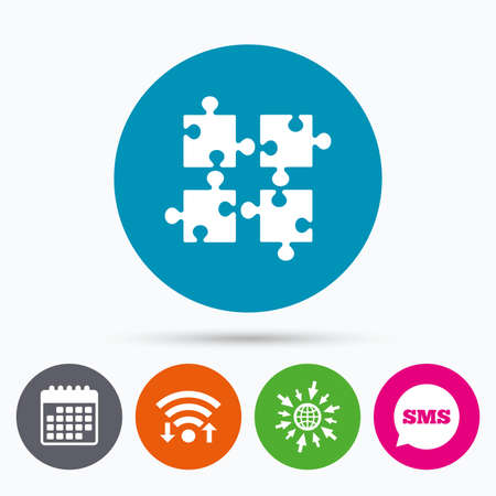 ingenuity: Wifi, Sms and calendar icons. Puzzles pieces sign icon. Strategy symbol. Ingenuity test game. Go to web globe.