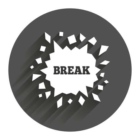 smashed paper: Break it sign. Cracked hole icon. Smashed wall symbol. Circle flat button with shadow. Modern UI website navigation.