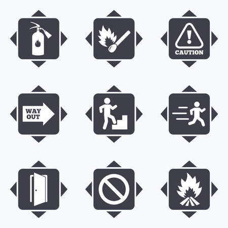 emergency attention: Icons with direction arrows. Fire safety, emergency icons. Fire extinguisher, exit and attention signs. Caution, water drop and way out symbols. Square buttons.