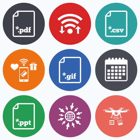 csv: Wifi, mobile payments and drones icons. Download document icons. File extensions symbols. PDF, GIF, CSV and PPT presentation signs. Calendar symbol.
