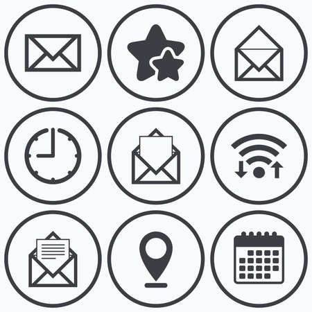 webmail: Clock, wifi and stars icons. Mail envelope icons. Message document symbols. Post office letter signs. Calendar symbol.