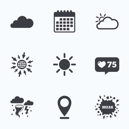 gale: Calendar, like counter and go to web icons. Weather icons. Cloud and sun signs. Storm or thunderstorm with lightning symbol. Gale hurricane. Location pointer.
