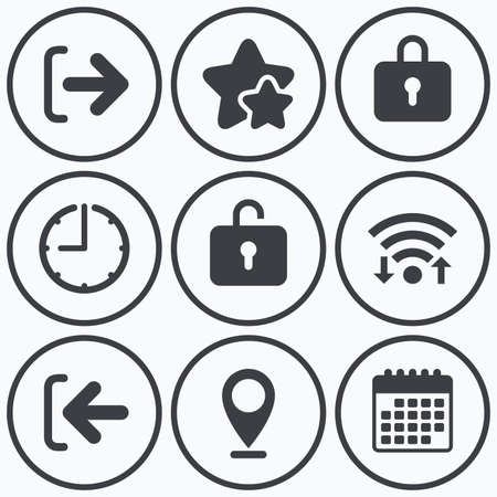 lock out: Clock, wifi and stars icons. Login and Logout icons. Sign in or Sign out symbols. Lock icon. Calendar symbol.