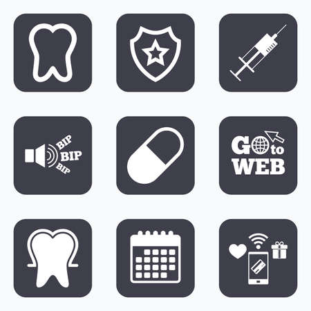 enamel: Mobile payments, wifi and calendar icons. Tooth enamel protection icons. Medical syringe and pill signs. Medicine injection symbol. Go to web symbol.