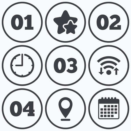 four in one: Clock, wifi and stars icons. Step one, two, three and four icons. Sequence of options symbols. Loading process signs. Calendar symbol. Illustration