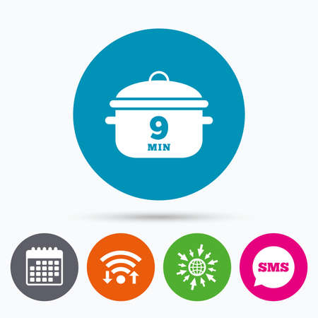 casserole: Wifi, Sms and calendar icons. Boil 9 minutes. Cooking pan sign icon. Stew food symbol. Go to web globe. Illustration